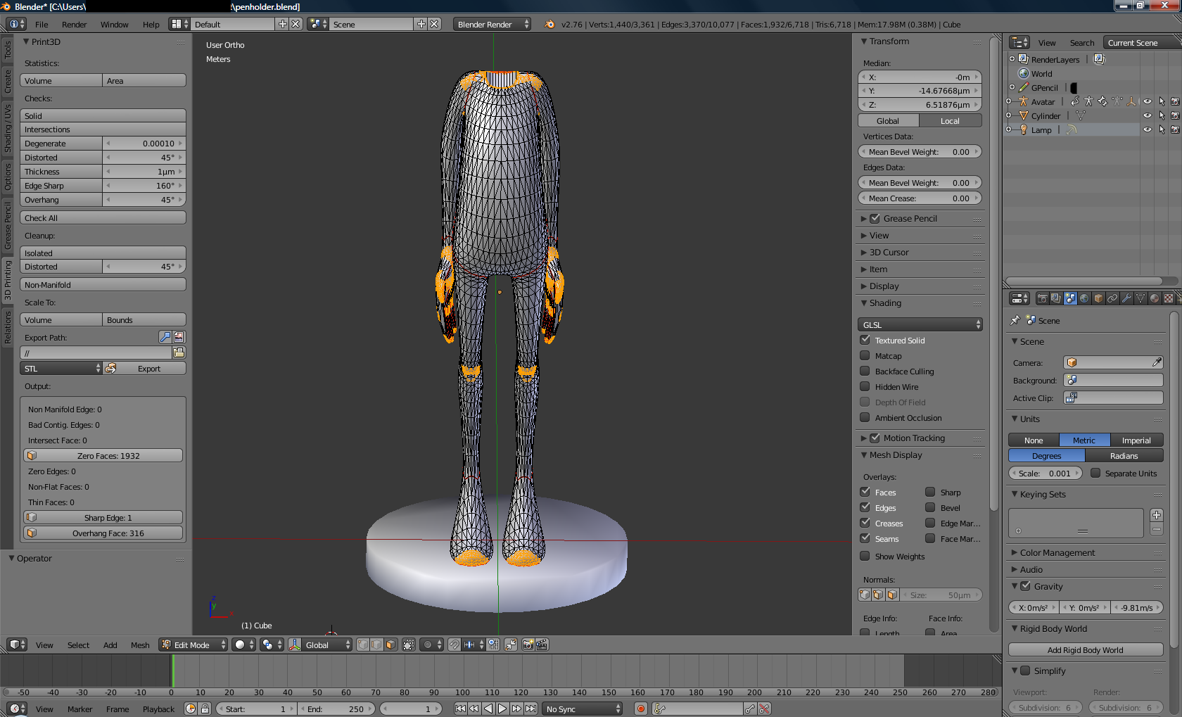 Portapenna: modello analizzato via 3D Print Toolbox, che ha rilevato le parti potenzialmente problematiche in fase di stampa 3D